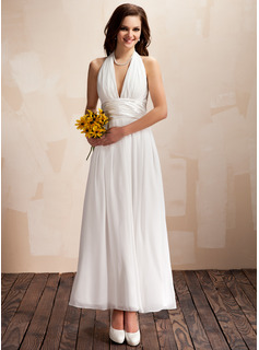A-Line/Princess Halter Ankle-Length Chiffon Charmeuse Wedding Dress With Ruffle Bow
