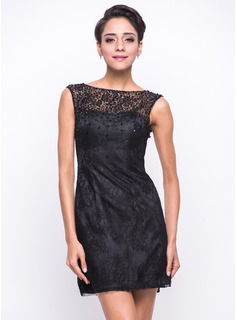 A-Line/Princess Scoop Neck Short/Mini Charmeuse Lace Cocktail Dress With Beading Sequins