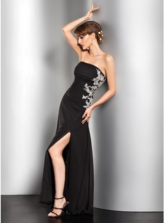 Sheath Strapless Floor-Length Chiffon Evening Dress With Ruffle Lace Beading