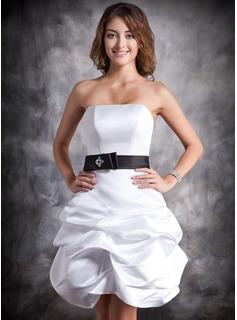 Sheath Strapless Short/Mini Satin Homecoming Dress With Ruffle Sash Beading