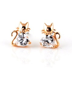 Cat Shaped Gold Plated Zircon Girls' Fashion Earrings