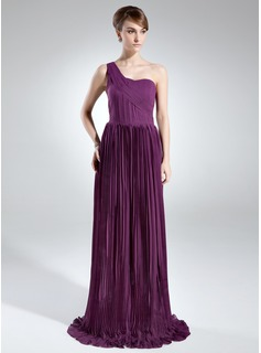 A-Line/Princess One-Shoulder Sweep Train Chiffon Mother of the Bride Dress With Pleated