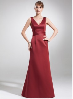 A-Line/Princess V-neck Floor-Length Satin Mother of the Bride Dress