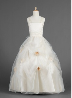 A-Line/Princess Sweetheart Floor-Length Organza Charmeuse Flower Girl Dress With Ruffle Flower(s)