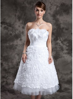 A-Line/Princess Strapless Tea-Length Taffeta Tulle Wedding Dress With Lace Flower(s)