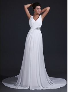 A-Line/Princess V-neck Court Train Chiffon Bridesmaid Dress With Ruffle Beading (007017344)
