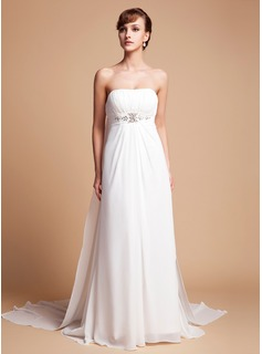 Empire Strapless Watteau Train Chiffon Wedding Dress With Ruffle Beadwork