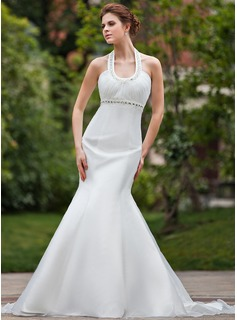 Trumpet/Mermaid Halter Chapel Train Organza Wedding Dress With Ruffle Beading