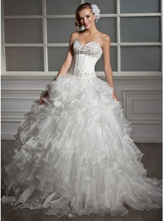 Ball-Gown Sweetheart Floor-Length Organza Satin Wedding Dress With Beadwork Sequins