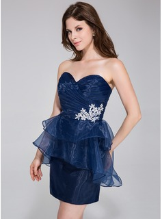 Sheath Sweetheart Short/Mini Organza Cocktail Dress With Ruffle Beading Appliques