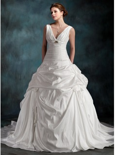 A-Line/Princess V-neck Chapel Train Taffeta Wedding Dress With Ruffle Beadwork Flower(s) (002001265)