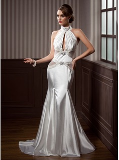 Mermaid High Neck Court Train Tulle Charmeuse Wedding Dress With Ruffle Beadwork