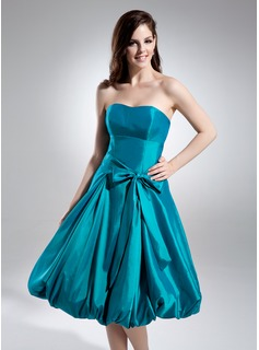 A-Line/Princess Strapless Tea-Length Taffeta Homecoming Dress With Ruffle (022009475)