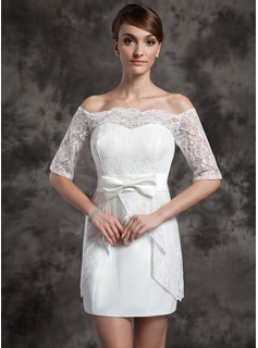 Sheath/Column Off-the-Shoulder Short/Mini Satin Wedding Dress With Lace Bow(s)