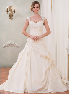 Ball-Gown Sweetheart Cathedral Train Taffeta Tulle Wedding Dress With Ruffle Lace Beading Sequins