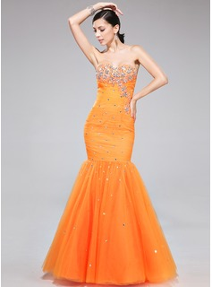 Trumpet/Mermaid Sweetheart Floor-Length Tulle Prom Dress With Ruffle Beading Appliques Lace