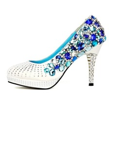 Women's Satin Stiletto Heel Closed Toe Platform Pumps With Rhinestone Crystal Heel (047031205)