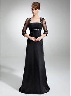 A-Line/Princess Square Neckline Court Train Chiffon Tulle Charmeuse Mother of the Bride Dress With Ruffle Lace Beading