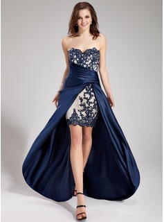 A-Line/Princess Sweetheart Asymmetrical Satin Prom Dress With Lace Beading Cascading Ruffles