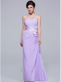 Sheath Sweetheart Floor-Length Chiffon Charmeuse Bridesmaid Dress With Ruffle