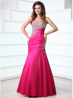 Mermaid Sweetheart Floor-Length Taffeta Prom Dress With Ruffle Beading