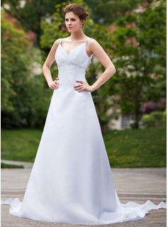 Empire V-neck Watteau Train Organza Wedding Dress With Ruffle Beadwork Sequins