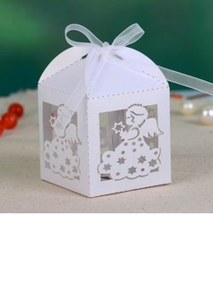 Beautiful Angel Cuboid Favor Boxes With Ribbons (Set of 12)