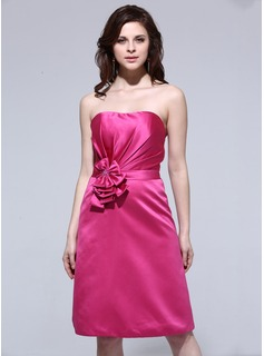 Sheath Sweetheart Knee-Length Satin Bridesmaid Dress With Flower(s)