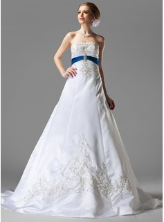 A-Line/Princess Strapless Chapel Train Satin Wedding Dress With Embroidery Sashes Beadwork Sequins