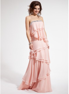 Sheath Strapless Floor-Length Chiffon Prom Dress With Beading