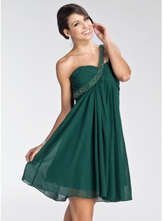 Empire One-Shoulder Short/Mini Chiffon Homecoming Dress With Ruffle Beading (022003353)