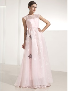 A-Line/Princess Scoop Neck Floor-Length Organza Holiday Dress With Flower(s) (020025980)