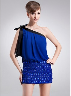 Sheath One-Shoulder Short/Mini Chiffon Lace Cocktail Dress With Ruffle Sash Beading