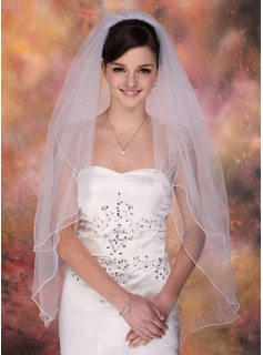 Two-tier Fingertip Bridal Veils With Pencil Edge (006003757