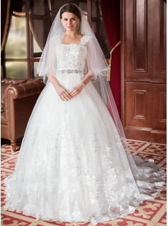 Ball-Gown Square Neckline Chapel Train Satin Tulle Wedding Dress With Lace Beading Sequins