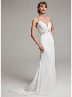 A-Line/Princess Halter Court Train Chiffon Wedding Dress With Ruffle Beadwork Sequins