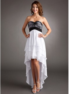 Empire Sweetheart Asymmetrical Chiffon Charmeuse Lace Homecoming Dress With Ruffle