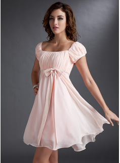 A-Line/Princess Square Neckline Short/Mini Chiffon Satin Homecoming Dress With Ruffle Beading