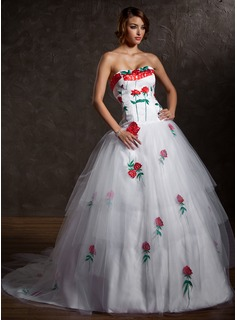 Ball-Gown Sweetheart Chapel Train Satin Tulle Quinceanera Dress With Appliques Cascading Ruffles (021027004)