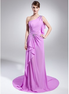A-Line/Princess One-Shoulder Court Train Chiffon Evening Dress With Beading Split Front Cascading Ruffles