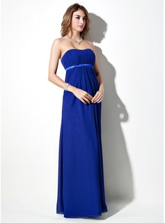 Empire Sweetheart Floor-Length Chiffon Charmeuse Maternity Bridesmaid Dress With Sash