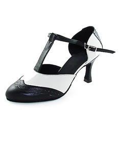 Women's Real Leather Heels Modern With T-Strap Dance Shoes