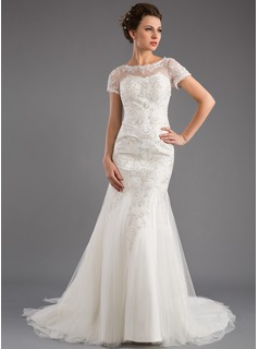 Mermaid Scoop Neck Court Train Tulle Wedding Dress With Lace Beadwork