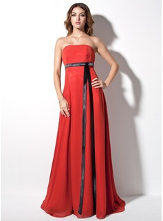 Empire Strapless Court Train Chiffon Charmeuse Evening Dress With Sash