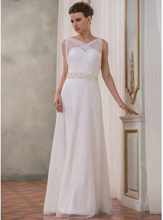 A-Line/Princess V-neck Floor-Length Tulle Charmeuse Lace Wedding Dress With Ruffle Beading Bow(s)