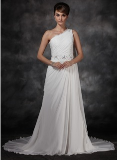 A-Line/Princess One-Shoulder Chapel Train Chiffon Evening Dress With Ruffle Beading (017017159)