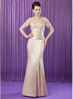 Mermaid V-neck Floor-Length Tulle Charmeuse Mother of the Bride Dress With Ruffle Lace Beading Sequins