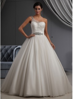 Ball-Gown One-Shoulder Chapel Train Satin Tulle Wedding Dress With Ruffle Beadwork (002022698)