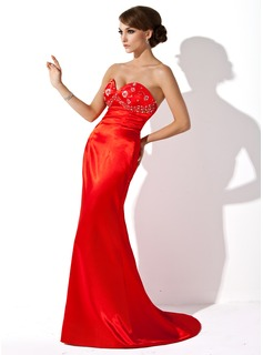Sheath Sweetheart Sweep Train Charmeuse Evening Dress With Beading (017002271)