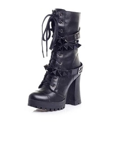 Real Leather Chunky Heel Platform Ankle Boots Riding Boots With Rivet shoes